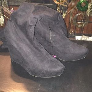 Just Fab Suede Like Wedge Knee High Boots